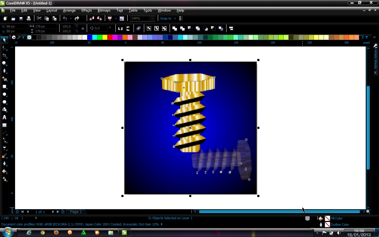 membuat baut with corel draw