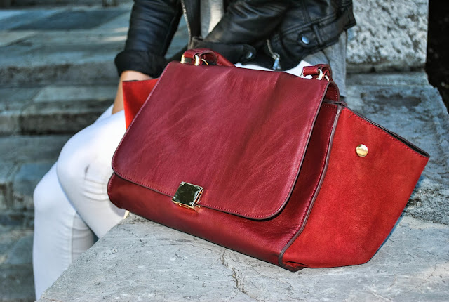 trapeze bag, lookalike, celine, knockoff, bag, oxblood, white pants, basic shirt, leather jacket, zara jacket, pointy heels, hair bun, wella competition, fashion bloggers, fashion blog