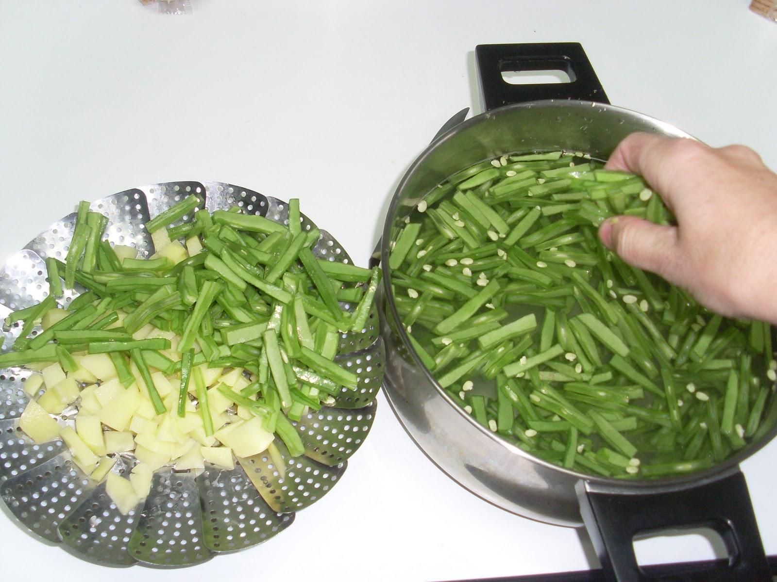 La cocina de pilar manzano judias verdes con patatas al vapor - Tiempo para cocer patatas ...