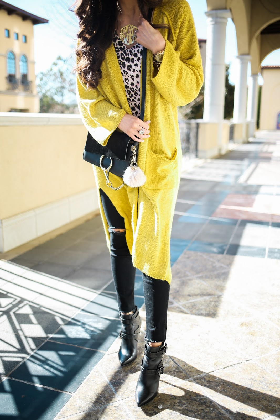 chic wish yellow cardigan, david yurman albion ring prasiolite, black chloe faye bag, small black chloe faye bag, gold monogram necklace oversized love always, topshop tank top, topshop camo leopard, mother denim black ripped, emily gemma, the sweetest thing blog, BCBG booties black, black ray ban aviators, tulsa fashion blog, daveid