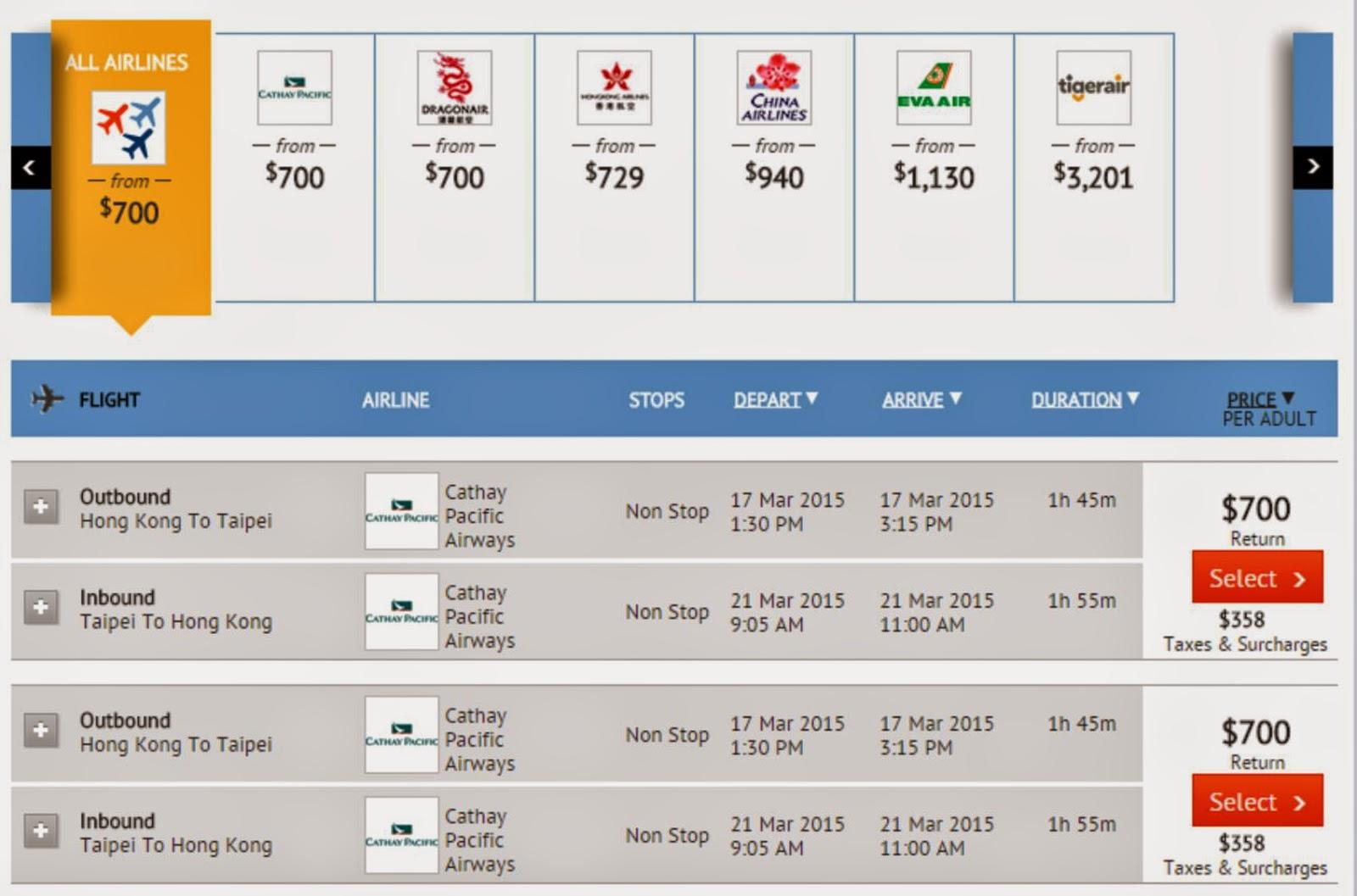 國泰/港龍航空香港往來台北$700起(連稅$1,058)