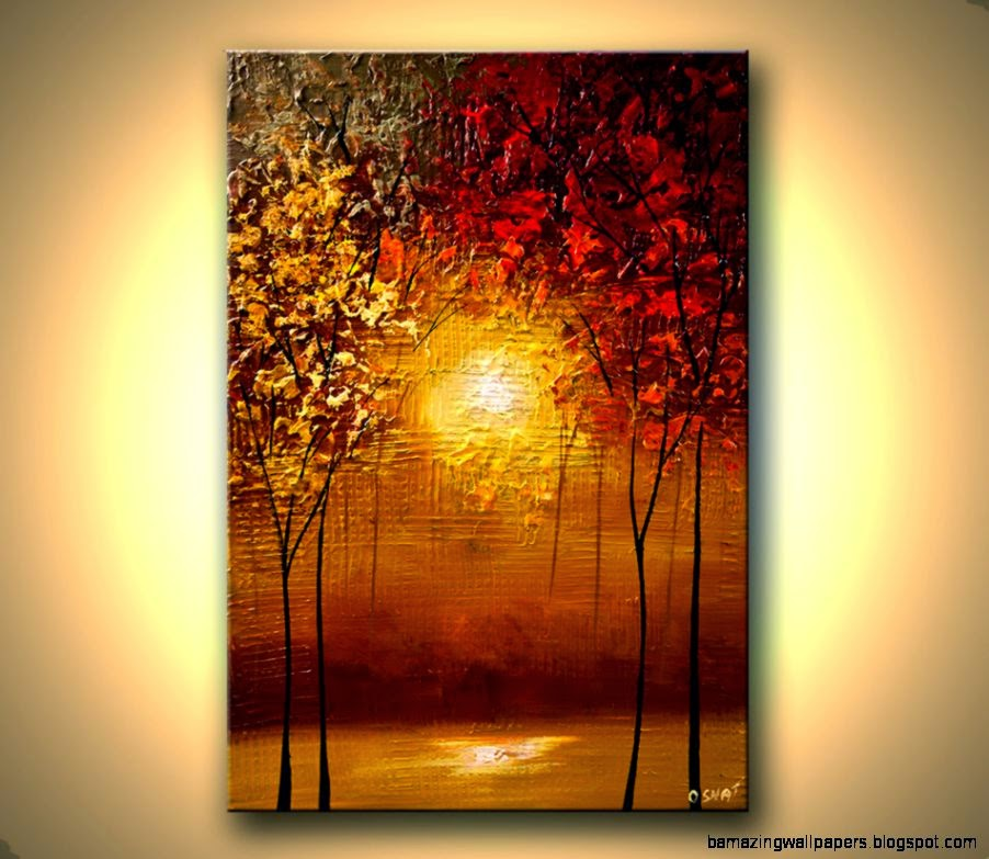 Unique Abstract art blooming trees paintings