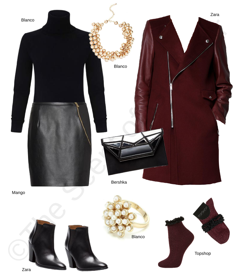 blanco black wing collared jumper, zara maroon coat, zara boots, mango black leather skirt, bershka clutch, blanco gold necklace, blanco gold ring