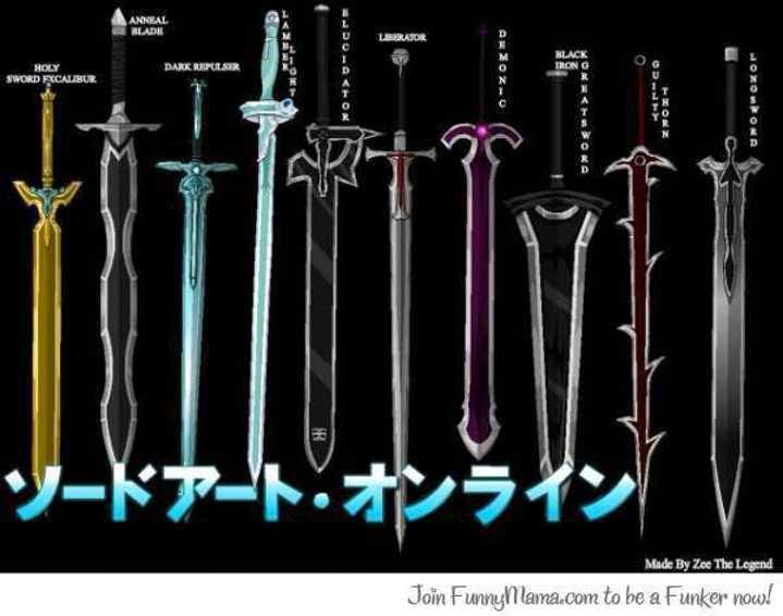 Sword Art Online: Weapons List