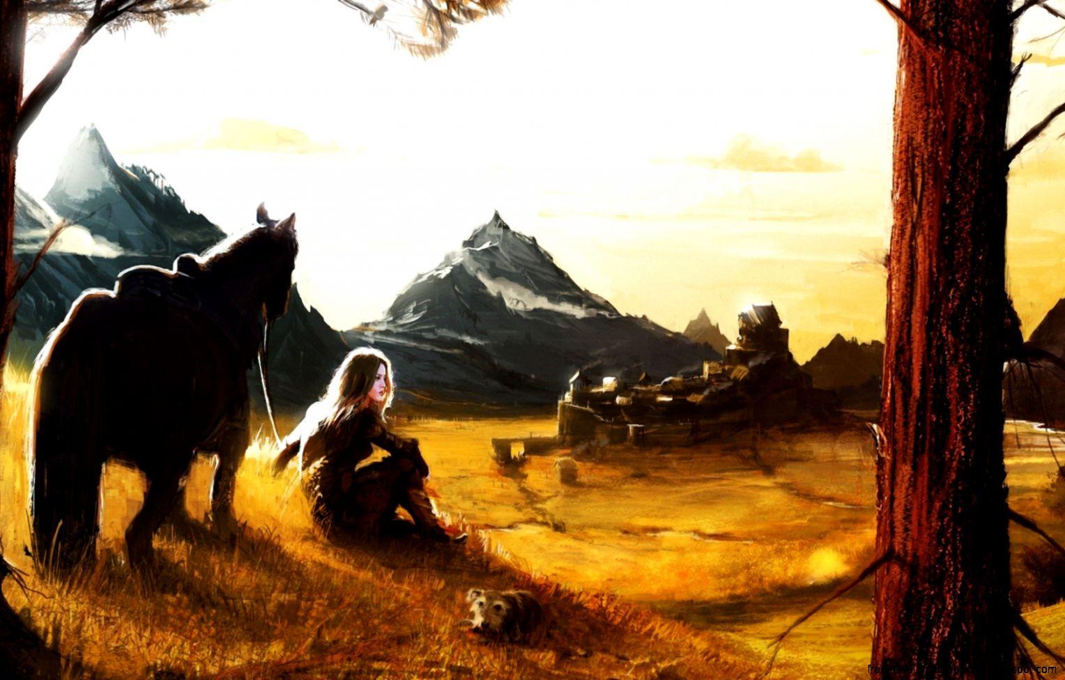 Popular   Wallpaper Horse Art - art-girl-horse-dog-mountain-village-hd-wallpaper-freewallsup  Image_8310098.jpg