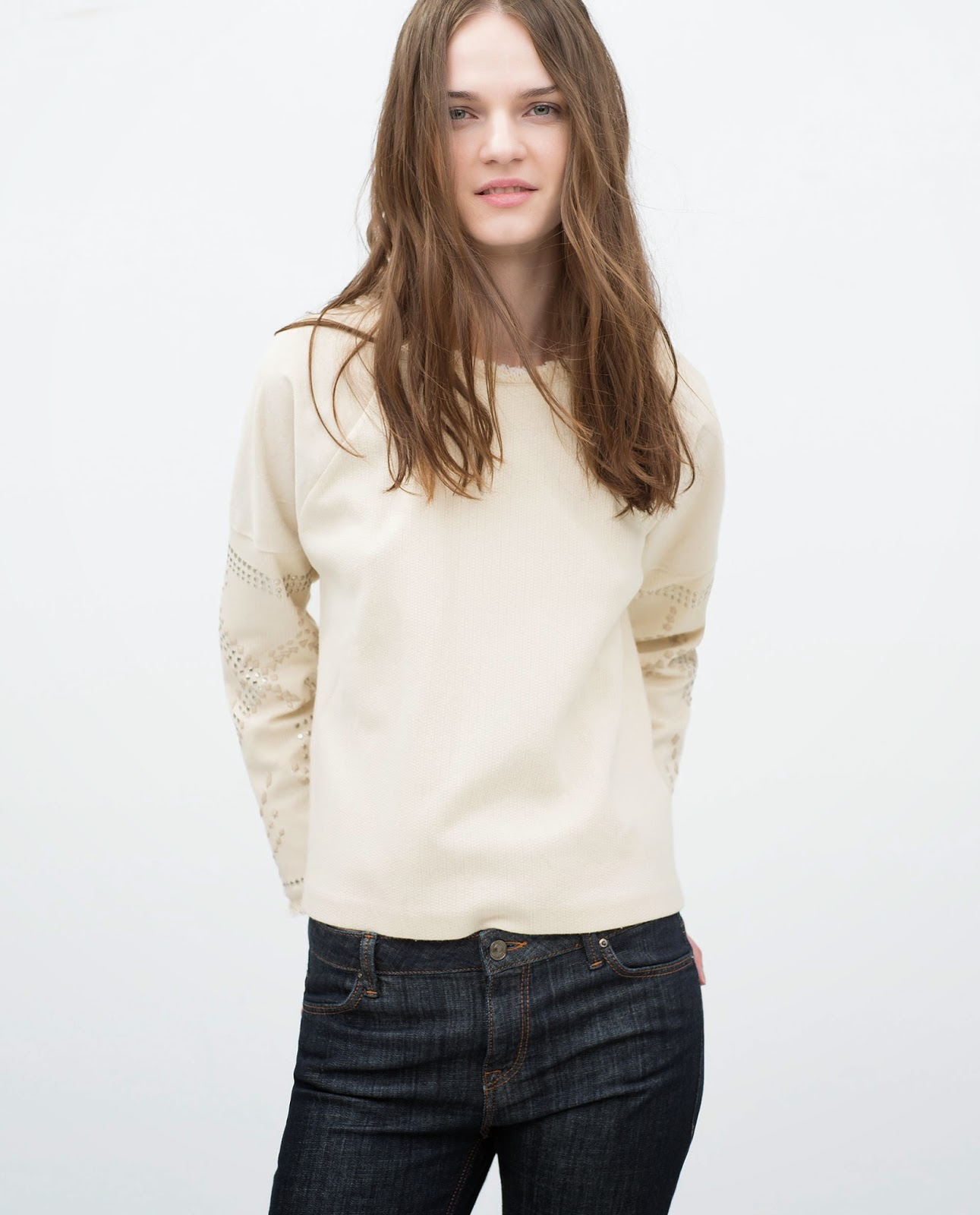 zara cream studded jumper