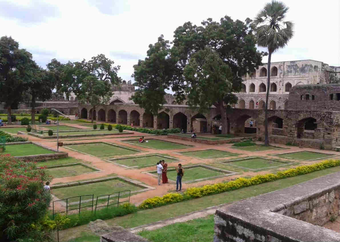 Beautiful garden inside Golconda Fort