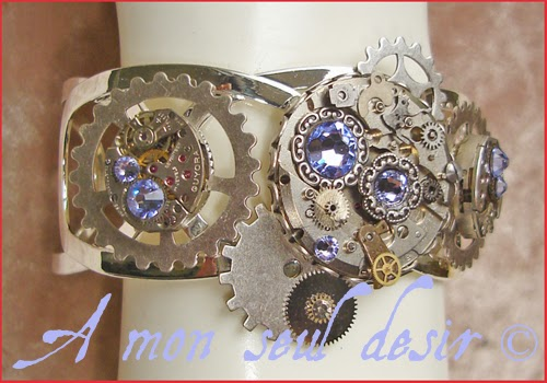 Bracelet Steampunk Mouvement de montre mécanique mécanisme watch parts clockwork jewelery wheelwork