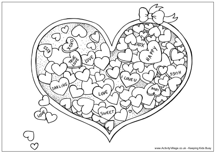 valentine chocolate coloring pages - photo#45