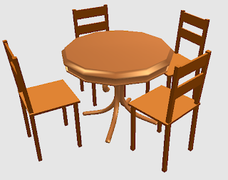 maja makan bundar + kursi