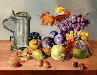 Uvas Manzanas Duraznos Botellas Vino