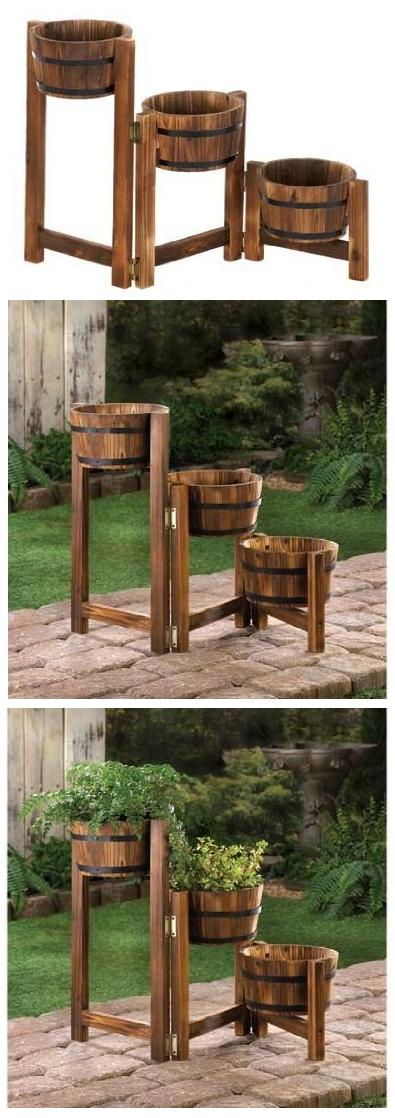 Wood Flower Pot Planter For Outdoor Garden