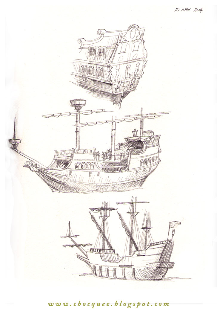 sketchbook drawings of galleons