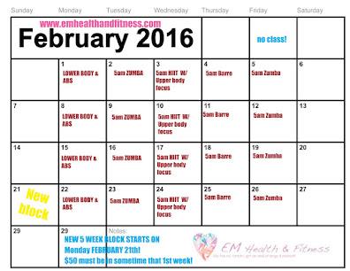 FEB. Class Schedule
