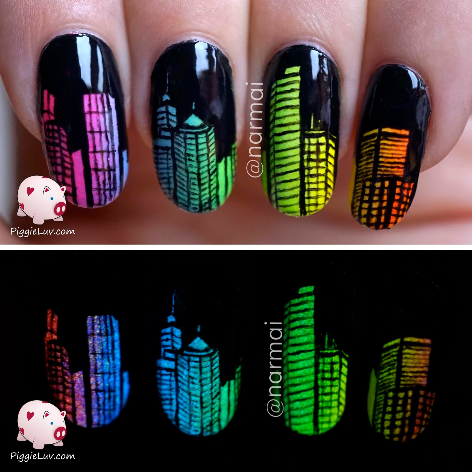 PiggieLuv: Glow in the dark city skyline nail art