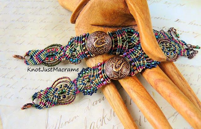 Beaded micro macrame bracelets in raku colors by Knot Just Macrame.