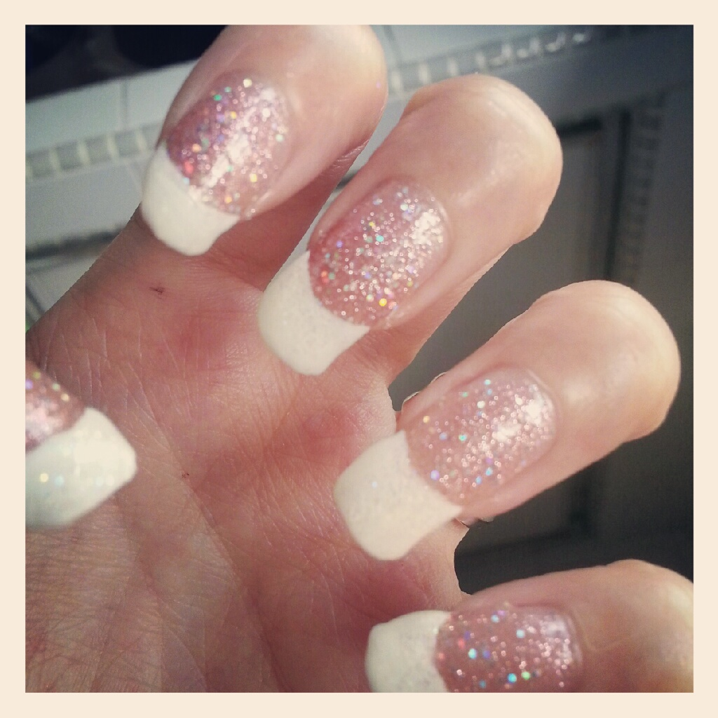 White tip nail designs pccala this time round i did a pink glitters with white tip prinsesfo Choice Image