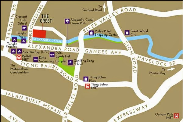 The Crest @ Prince Charles Crescent Location Map