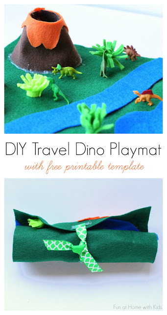 Make a DIY Travel Dino Playmat in about 15 minutes using this FREE printable template. Great for entertaining kids on the go, especially in places where they need to wait, like for an appointment!