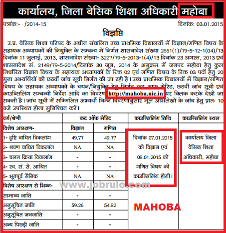 UPTET 29334 Maths & Science JRT Bharti 6th Cut Off Merit List of Basti Division & Chitrakoot Division 2015