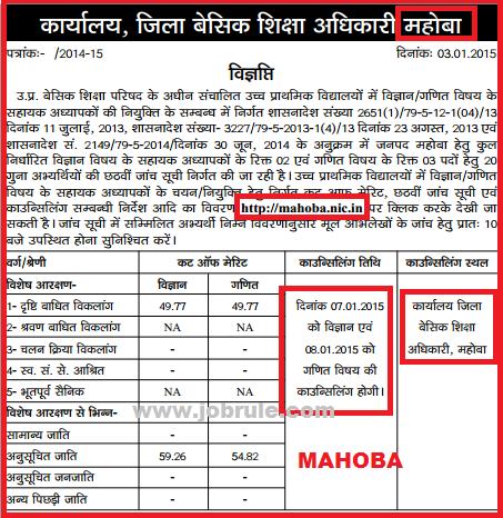 UPTET 29334 Maths & Science JRT Bharti 6th Cut Off Merit List of Basti Division & Chitrakoot Division 2015