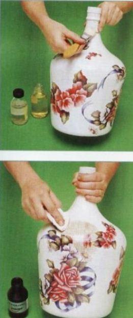 Manualidades decoupage en vidrio mimundomanual - Botellas decoradas manualidades ...