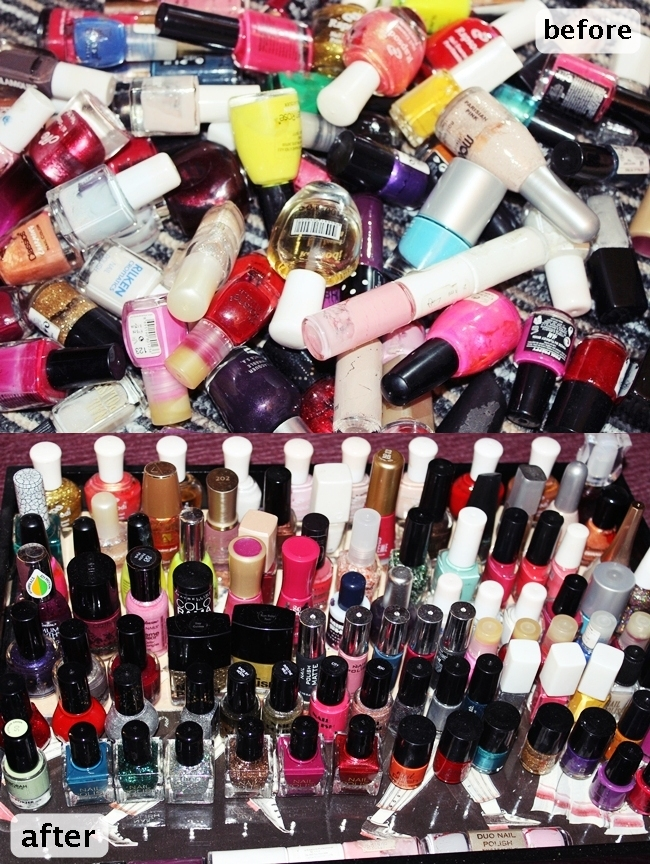 DIY nail polish storage idea. Nail polish storage. Nail polish storage idea. How to storage nail polishes.