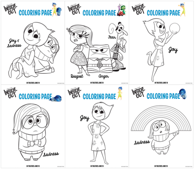 Disney Pixar Inside Out - free colouring pages