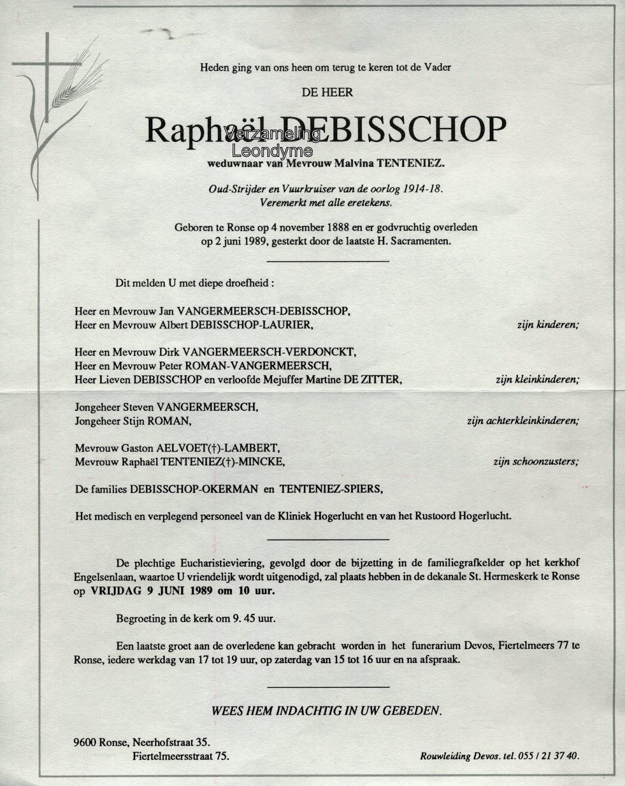 Rouwbrief, Raphaël Debisschop 1888-1989. Verzameling Leondyme