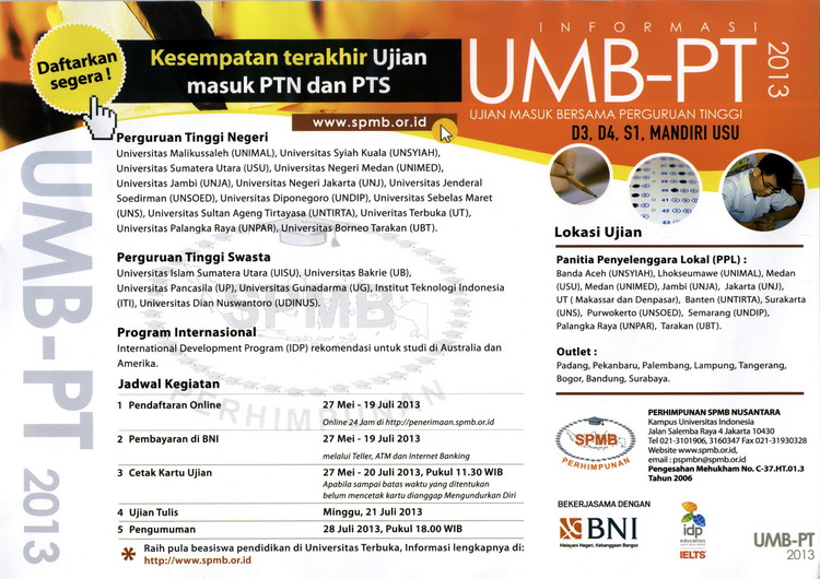 For More Information Klik http://www.spmb.or.id