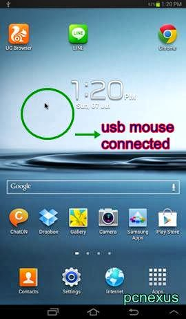 mouse connected in galaxy tab 2