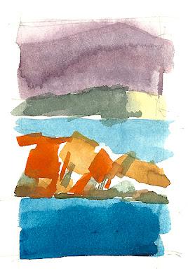 Presqu'île de Capelan, Bandol, aquarelle, watercolor