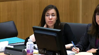 Jodi Arias appears during her murder trial on April 11, 2013.
