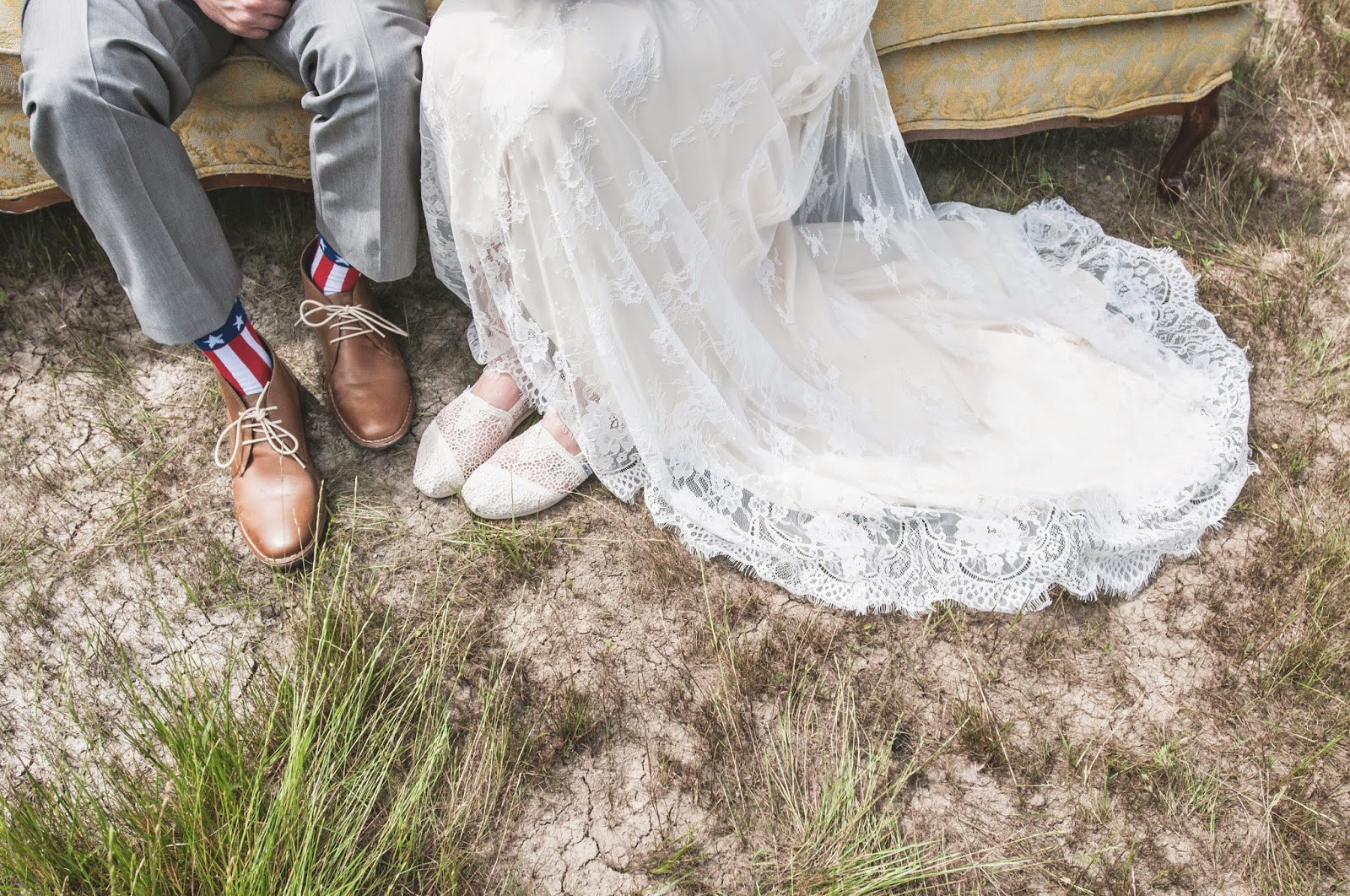 Bride and Groom vintage look with American flag socks and lace Toms