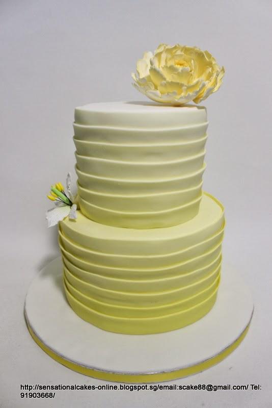 The Sensational Cakes: YELLOW OMBRE PEONIES WEDDING CAKE SINGAPORE ...