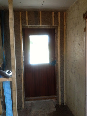Internal sheepswool insulation by the front door
