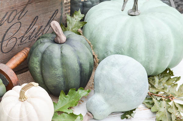 Decorate with some green DIY pumpkins.  |  www.andersonandgrant.com