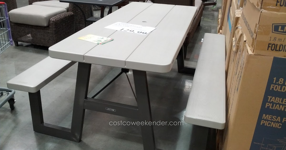 lifetime products 6 foot w frame folding picnic table costco weekender. Black Bedroom Furniture Sets. Home Design Ideas