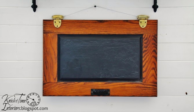 Repurposed cabinet door chalkboard from knickoftimeinteriors.blogspot.com