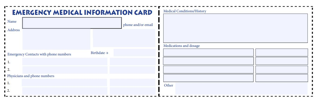 Personal Information Card Template Oyle Kalakaari Co