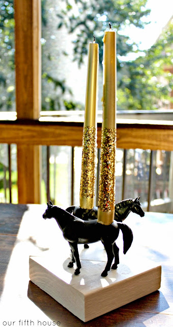 Anthropologie knock off horse candle holder