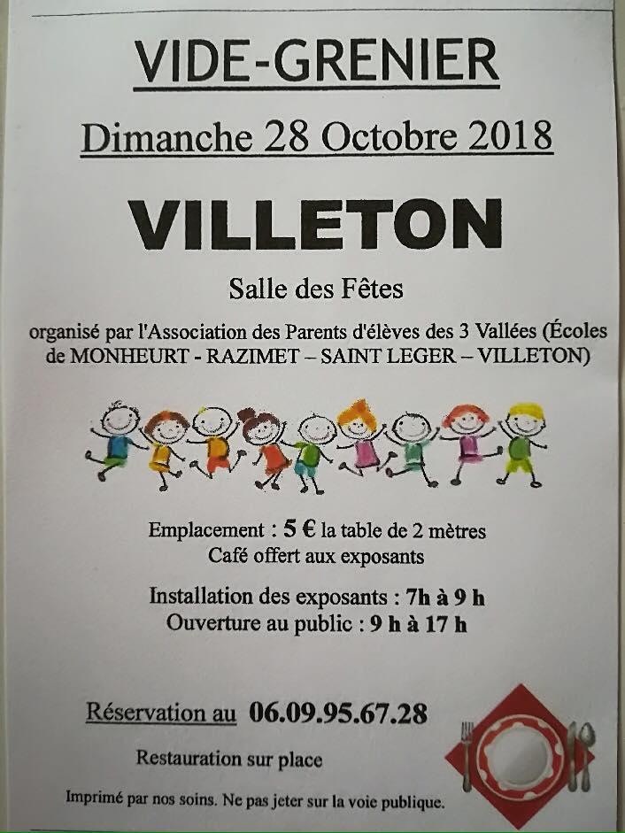Vide-grenier à Villeton - 28 octobre