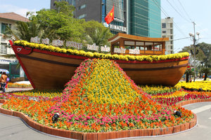 Model of a ship (7m long) at the flower festival