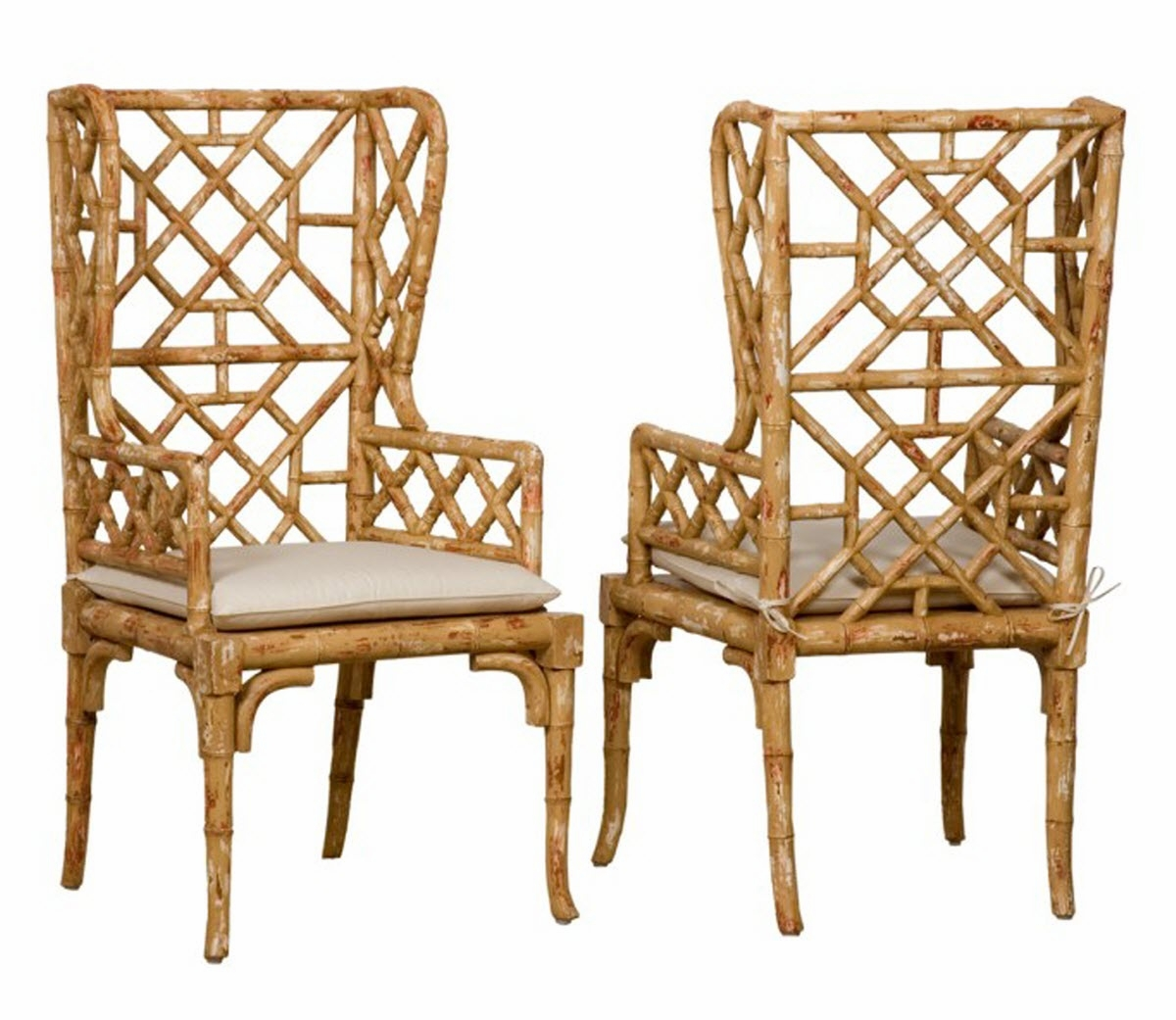 chinoiserie chic bamboo wing back chairs