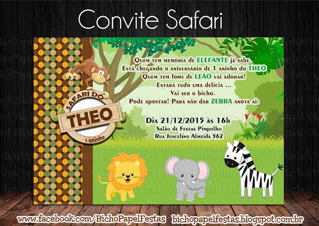 Arte Convite Safari marrom e verde