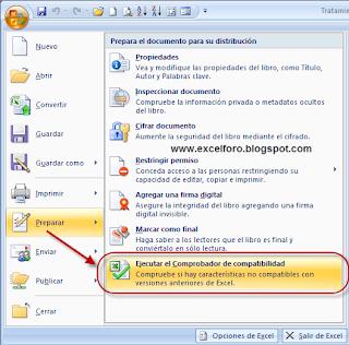 Comprobador de compatibilidad en Excel 2007.