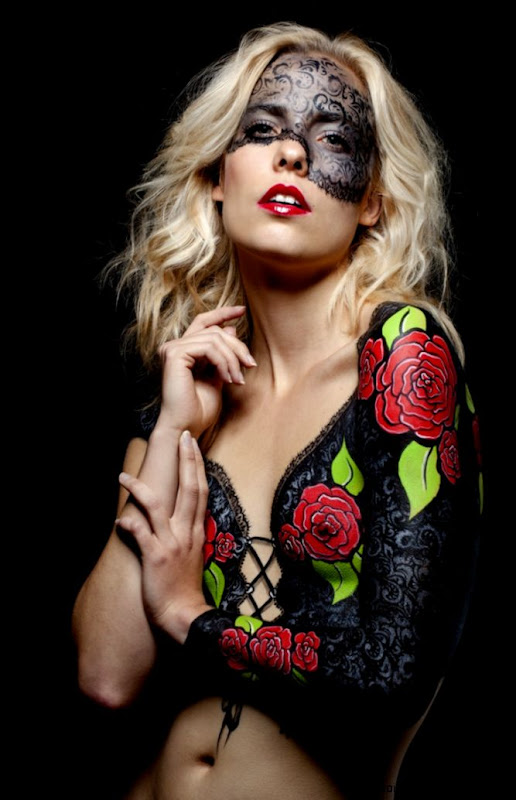 Rose and lace bodypaint  Tattoo bodypaint  Pinterest