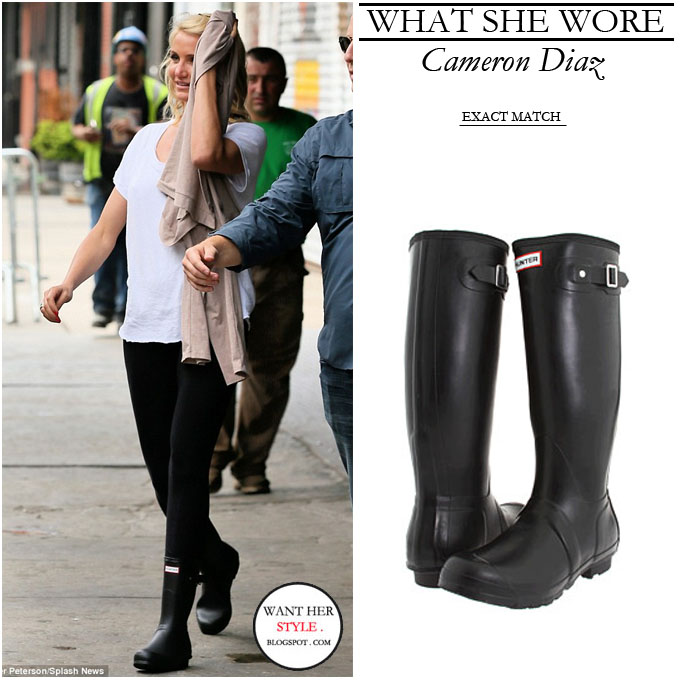 WHAT SHE WORE: Cameron Diaz in black tall rain boots in New York ...