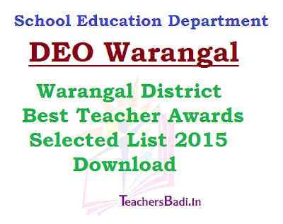 Warangal District Best Teacher Awardees List 2015
