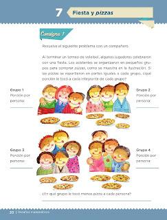 Apoyo Primaria Desafíos matemáticos 4to grado Bloque I lección 7 Fiesta y pizzas